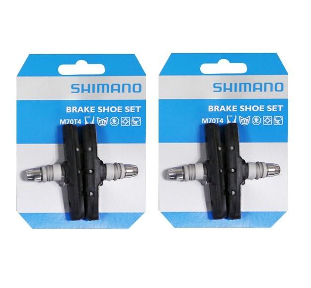 2 Paar Original Shimano Bremsschuhe M70T4 V-Brakes 70 mm schwarz - Für gefräste Felgen